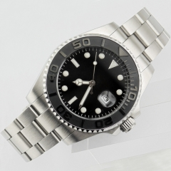43mm black dial sapphire glass uni-directional bezel automatic men watch 1854