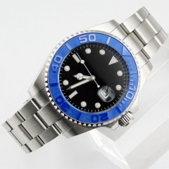 43mm Sterile black dial sapphire glass ceramic Bezel automatic mens watch 1853