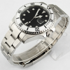 43mm Parnis sapphire glass mechanical black  dial Date automatic mens watch1855
