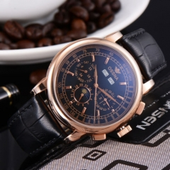 42mm Ossna Moon Phase Rose Gold WATCH Automatic Movement for Men Black Dial 1860