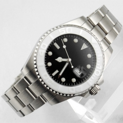 43mm black dial sapphire glass uni-directional bezel automatic men watch 1856