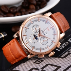 42mm Ossna White Dia Rose Gold Case  Markers Date Automatic Men Watch 1858