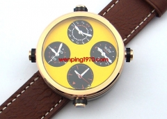48mm Date Parnis Steel Case Yellow Sandwich Dial Quartz Movement Mens Watch 1035