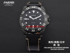 43mm Parnis Sapphire glass PVD Mechanical steel Black automatic Mens Watch E1230
