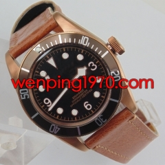 Corgeut 41mm Coffee bezel black dial Sapphire Glass Automatic mens Watch 2103-N