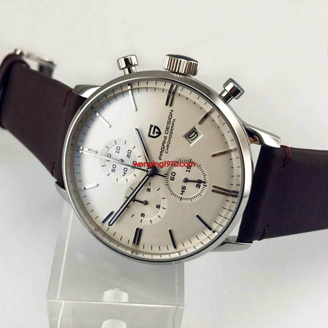 pagani design 43mm white dial chronograph japanese quartz men's