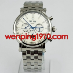 Ossna 42mm white dial Stainless steel strap automatic date&day mens watch 2167