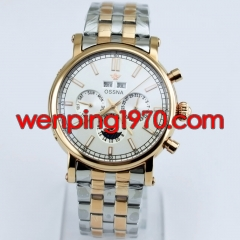 Ossna 42mm White dial Rose gold case Steel strap automatic Date&Day watch 2166