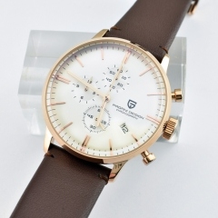 Pagani Design 43mm White Dial rose gold case Chronograph Japanese Quartz Men's watch 2252