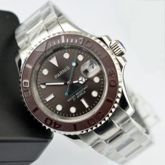 41mm Parnis gray dial brush Ceramic bezel 21 jewels miyota automatic mens watch 2406