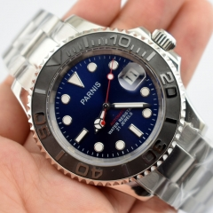 Parnis 41mm blue dial brush Ceramic bezel 21 jewels miyota automatic mens watch 2405