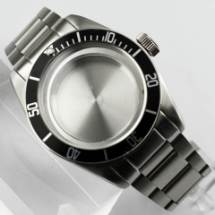 41mm Watch Case+Black Bezel Fit ETA 2836/2824,Mingzhu 2813,Miyota 82series P708