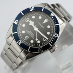 41mm Corgeut blue bezel Sapphire Glass steel strap miyota Automatic Watch 2414