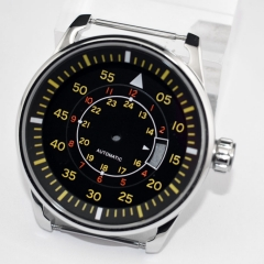 44mm steel watch Case+Dial Fit DG 2813/3804,Miyota 82 Series Automatic movement p711