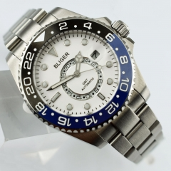 43mm Bliger Steel Case white dial Luminous marks Ceramic Bezel GMT automatic watch 2421