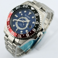 43mm Bliger Steel Case blue dial Luminous marks Ceramic Bezel GMT automatic watch 2420