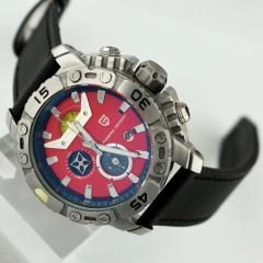 Pagani Design 42.5mm Red Dial Luxury Chronograph Quartz Sport Wrist Watch 2436