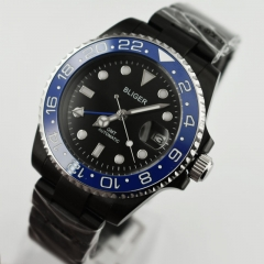 Bliger 40mm Sapphire glass Luminous black dial blue GMT Automatic Men Watch 2435
