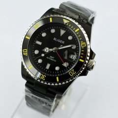 40mm Bliger GMT Automatic black dial Luminous sapphire glass PVD case Watch 2433