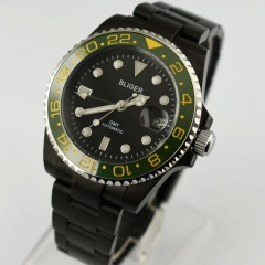 40mm Bliger sapphire glass Luminous black dial green GMT Automatic Watch 2434
