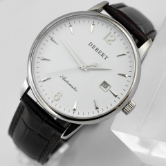 Debert 40mm MIYOTA 8215 Automatic white dial Sapphire slive case Date Watch 2441