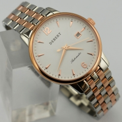 Debert 40mm MIYOTA 8215 rose gold case White Dial Automatic Date Watch 2443
