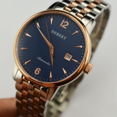 Debert 40mm blue dial MIYOTA 8215 Sapphire rose gold case Automatic Watch 2444