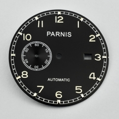 Parnis 36.9mm Black Dial Fit Sea gull 2555 Movement watch P724