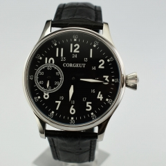 Corgeut 44mm Black Dial Leather Sea gull hand-winding 6497 Movement Watch 2447