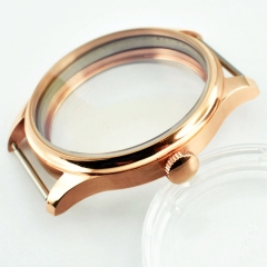 44mm Parnis Rose Gold watch Case Fit eta 6498 6497 hand winding movement P727