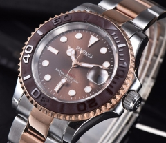 41mm Parnis brown dial Ceramic bezel Sapphire Miyota 8215 Automatic Watch 2485