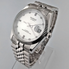 Parnis 36mm Silver Steel Case 21 Jewels 5ATM Miyota Automatic Date Watch 2494