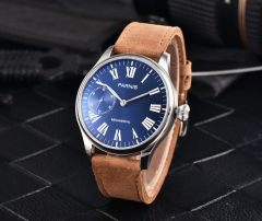 Parnis 44mm 17 Jewels Steel Case Blue Dial 6497 Hand Winding Movement Watch 2528