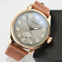 44mm Parnis Rose Golden Plated Case Gray Dial 6498 Hand Winding WristWatch 2526