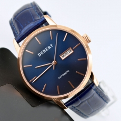 Debert 40mm Blue Dial Rose Gold Case Miyota Automatic Movement Wrist Watch 2552
