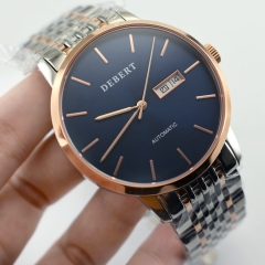 40mm Debert Steel Rose Gold Blue Dial Miyota Automatic Date Day Wrist Watch 2557