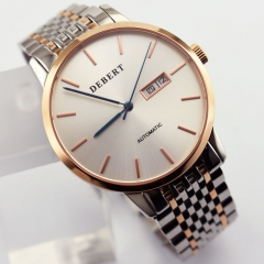 Debert 40mm Rose Gold Silver Dial Miyota Automatic Movement WristWatch 2556