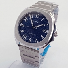 Parnis 40mm Blue Dial Steel Strap Sapphire glass Miyota 821A Automatic Watch 2613