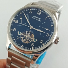 Parnis 43mm Steel Strap Power Reserve Sea gull 2505 Automatic Men's Watch 2642