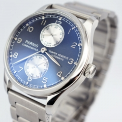 43mm parnis deep blue dial steel strap power reserve Sea gull automatic mens watch 2624