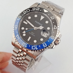 40mm Parnis Sapphire glass Blue GMT Hands Automatic Mens Wrist Watch 2643