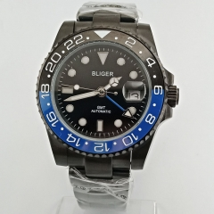 40mm Bliger black dial Black PVD case Ceramic Bezel sapphire crystal GMT automatic men's watch 2647