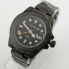 40mm Bliger black dial Black PVD case Ceramic Bezel sapphire crystal orange GMT automatic men's watch 2685