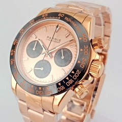 39mm PARNIS black dial sapphire rose golden full Chronograph quartz watch 2693