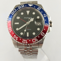 40mm PARNIS black dial Pepsi bezel Sapphire glass date GMT automatic watch 2696