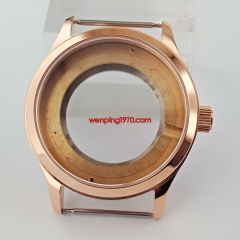 42mm Sapphire glass Rose gold Watch Case Fit ETA 2836,Miyota 82 series P839