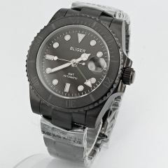 40mm Bliger black dial Black PVD case Ceramic Bezel sapphire crystal Green GMT automatic men's watch 2646