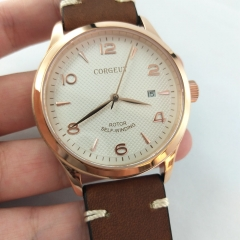 42mm Corgeut white dial Rose gold Sapphire Glass miyota Automatic watch 2681