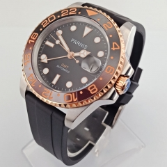 40mm PARNIS black dial Sapphire glass ceramic bezel GMT automatic men watch 2703