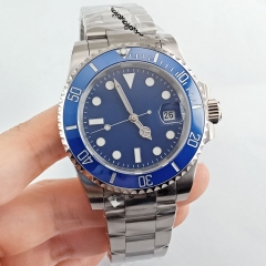 40mm Sterile Blue Dial Sapphire Crystal Automatic Mens Watch Wristwatches 2757